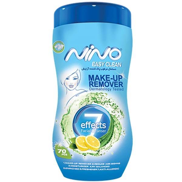 دستمال مرطوب پاک کننده آرایش کمر باریک نینو – بسته ۷۰ عددی